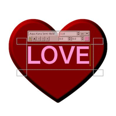 LOVEの文字を入れる
