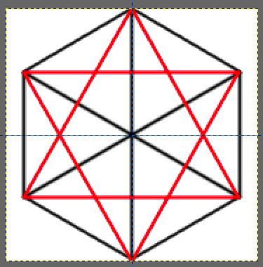 赤線でガイドの星形を作る