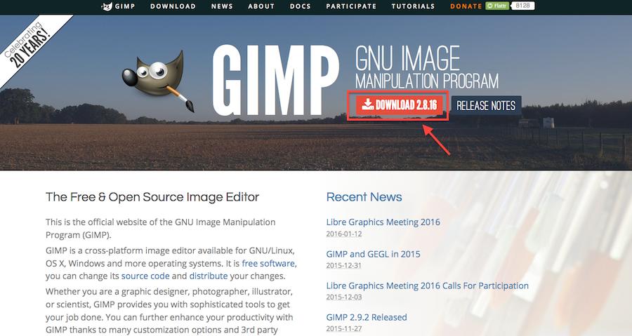GIMPの本家のホームページ