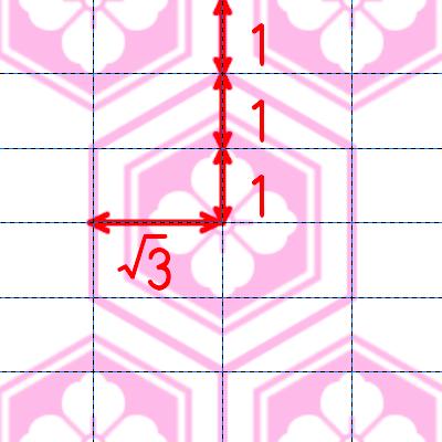 亀甲模様の描き方:配置詳細