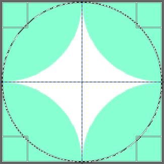 七宝つなぎの描き方:四つ角に円を配置