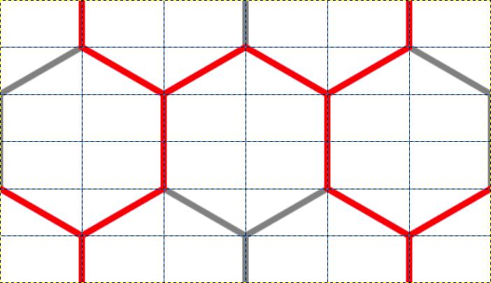 毘沙門亀甲の部分を赤線