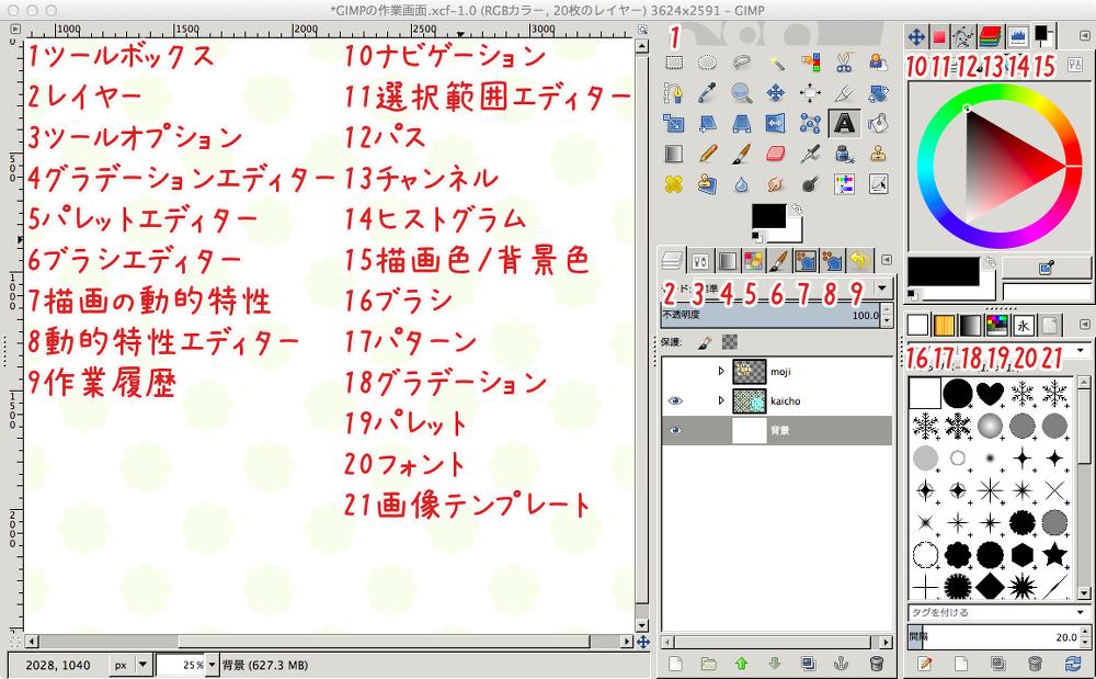 私のGIMPの作業画面詳細